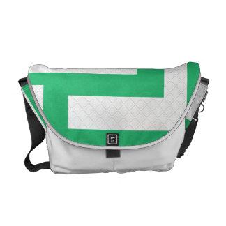 緑及び白人力車のメッセンジャーバッグを形づけます クーリエバッグ