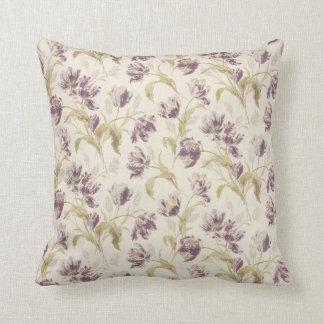 緑及び紫色の花の枕 クッション