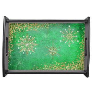 緑及び金ゴールドのクリスマスの雪片 トレー