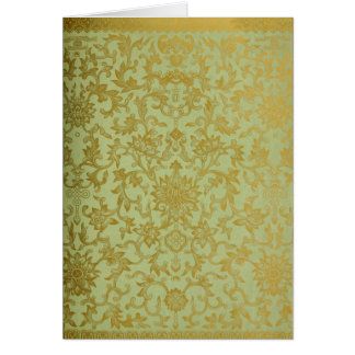 緑及び金ゴールドのブロケードNotecard カード