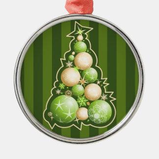 緑及び金ゴールドの地球のクリスマスツリー メタルオーナメント