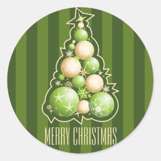 緑及び金ゴールドの泡クリスマスツリー ラウンドシール
