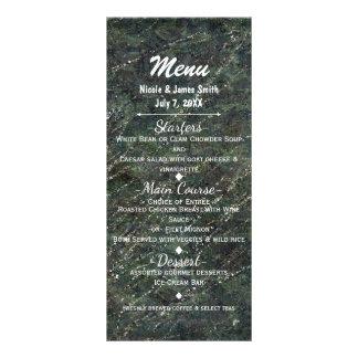 緑及び銀製の軍隊の迷彩柄の輝きの魅力的なパーティーメニュー ラックカード