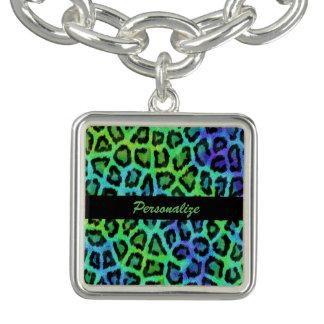 緑及び青のヒョウのプリントのチャームブレスレット チャームブレス