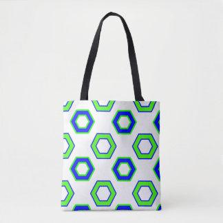 緑及び青のベクトル六角形パターン トートバッグ
