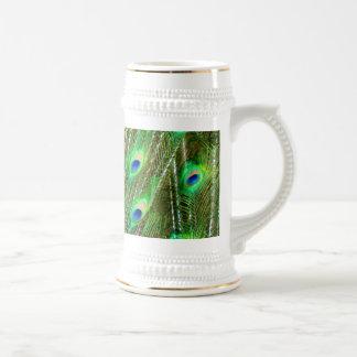 緑及び青の孔雀の羽パターン ビールジョッキ