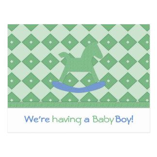 緑及び青の男の赤ちゃんの発表の郵便はがき ポストカード