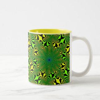 緑及び黄色の心の変種 ツートーンマグカップ