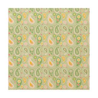 緑及び黄色の春のペイズリー ウッドウォールアート