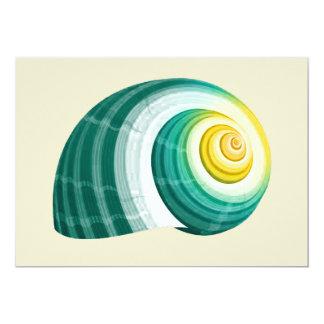 緑及び黄色の貝殻 カード