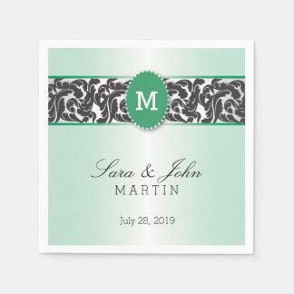 緑及び黒いヴィンテージの渦巻のモノグラムのな結婚式 スタンダードカクテルナプキン