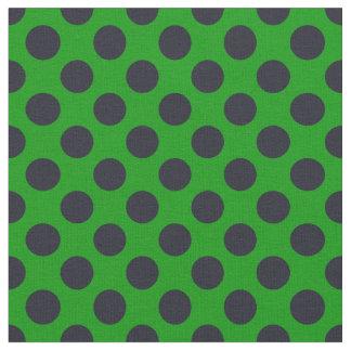 緑及び黒い水玉模様の生地 ファブリック