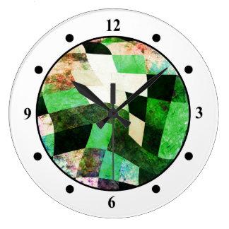緑及び黒い波状のモダンなデザイン ラージ壁時計