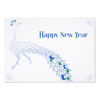 緑孔雀青のエレガントな新年空白のなカード カード
