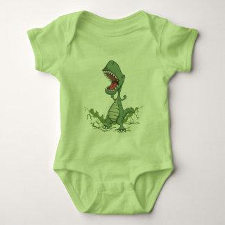 緑恐竜のベビーのボディスーツ ベビーボディスーツ