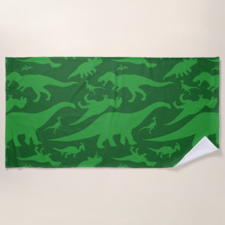 緑恐竜パターン ビーチタオル