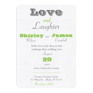 緑愛および笑い声の結婚式招待状 カード
