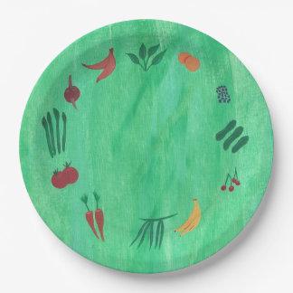 緑書のプレートのフルーツ野菜 ペーパープレート
