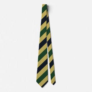 緑海軍および金ゴールドの斜めストライプのなタイ カスタムネクタイ