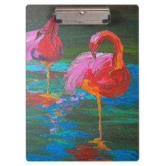 緑湖(K.Turnbullの芸術)の2羽のピンクのフラミンゴ クリップボード