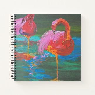 緑湖(K.Turnbullの芸術)の2羽のピンクのフラミンゴ ノートブック