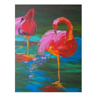 緑湖(K.Turnbullの芸術)の2羽のピンクのフラミンゴ ポストカード