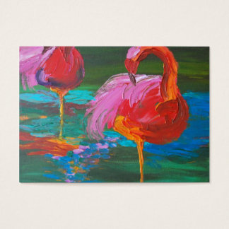 緑湖(K.Turnbullの芸術)の2羽のピンクのフラミンゴ 名刺