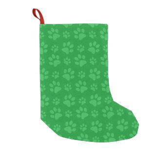 緑犬の足のプリント スモールクリスマスストッキング