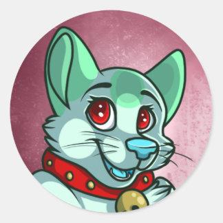 緑猫のステッカー ラウンドシール