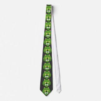 緑猫の顔のタイ ネクタイ