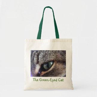 緑色の目の灰色の虎猫のキャッツ・アイのクローズアップ トートバッグ