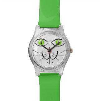 緑色の目の猫の調節可能な腕時計 腕時計