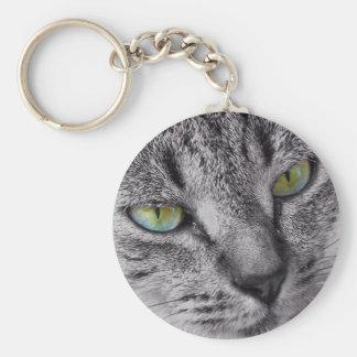 緑色の目の虎猫猫のkeychain キーホルダー
