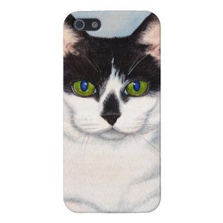 緑色の目の黒く及び白い猫の絵画 iPhone SE/5/5sケース