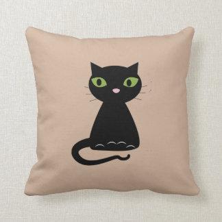緑色の目の黒猫 クッション