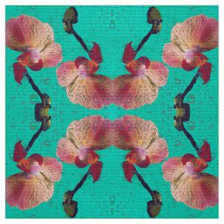 緑色の蘭 ファブリック