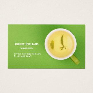 緑茶のコップが付いている緑の草木の名刺 名刺