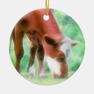 緑草原の赤い牛 セラミックオーナメント