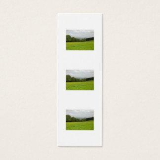 緑草原。 田舎景色。 カスタム スキニー名刺