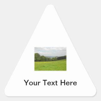 緑草原。 田舎景色。 カスタム 三角形シール