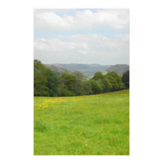 緑草原。 田舎景色 チラシ