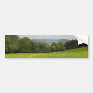 緑草原。 田舎景色 バンパーステッカー