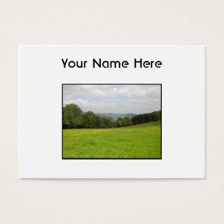緑草原。 田舎景色 名刺