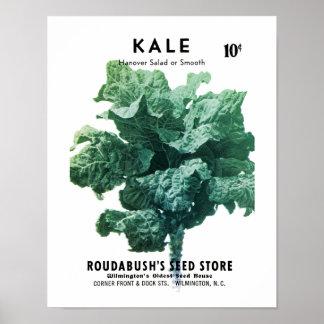 緑葉カンランの種の包みのラベル ポスター