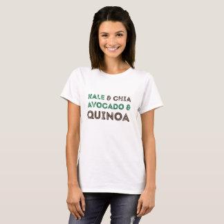 緑葉カンランのChiaのアボカドのキノアのビーガンのベジタリアンのワイシャツ Tシャツ
