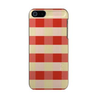 緑豊かなダリアの赤く及び白いギンガムの点検の格子縞 メタリックiPhone SE/5/5sケース