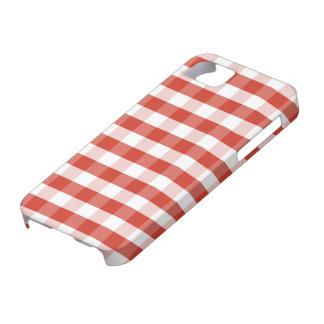 緑豊かなダリアの赤く及び白いギンガムの点検の格子縞 iPhone SE/5/5s ケース