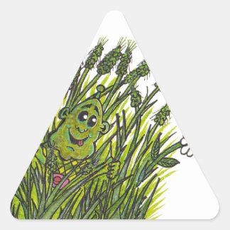 緑豊かな芝生 三角形シール