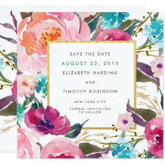 緑豊かな花束の結婚式の保存日付 カード