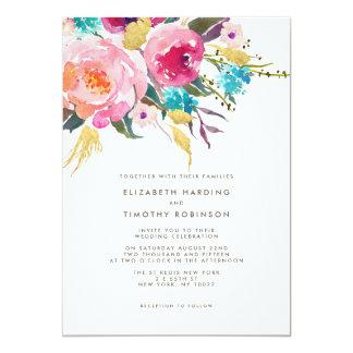 緑豊かな花束の結婚式招待状 カード